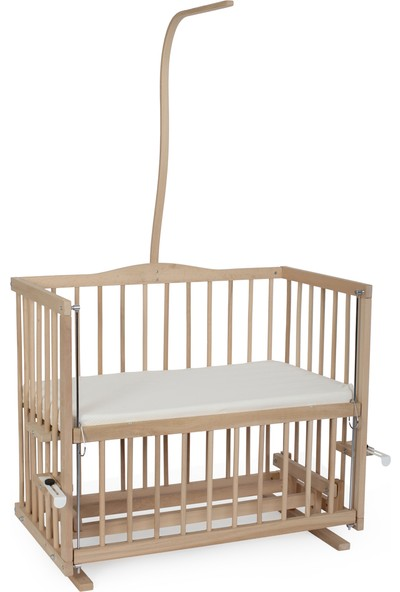 Heyner Ahşap Organik 50 x 90 Kademeli cm Anne Yanı Beşik Sallanan Ahşap Beşik - Pembe Prenses Uyku Setli & Soft Ortopedik Yataklı