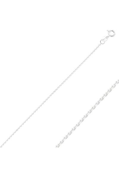 Tokat Gümüş 925 Gümüş 30 Mikron Tıraşlı Forse Zincir Kolye - 50Cm