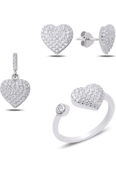 Tokat Gümüş 925 Ayar Gümüş Zirkon Taşlı Kalpli Set Ayarlanabilir Yüzük