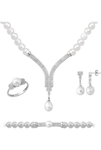 Chavin İnci Gümüş Kolye Küpe Bileklik Yüzük Takım Set ED98