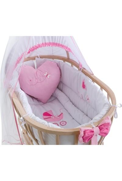 Carino Wins Masif Organik Ahşap Sallanan Sepet Beşik + Kız Bebek Uyku Seti + Yatak
