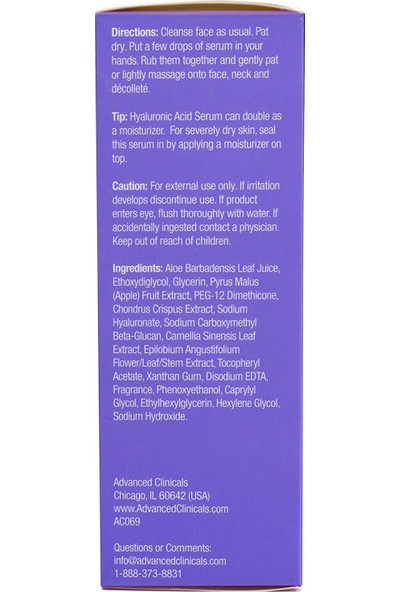 Advanced Clinicals Hyaluronic Acid Serum 52ml