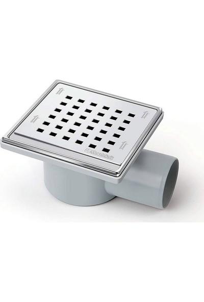 Mesa Teknik Ø50 Drainer Sürmeli Yandan Çıkışlı Banyo Yer Süzgeci 11X11 cm