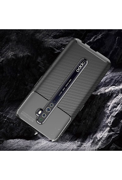 KNY OPPO Reno 2Z Kılıf Karbon Desenli Lux Negro Silikon + Cam Ekran Koruyucu Siyah