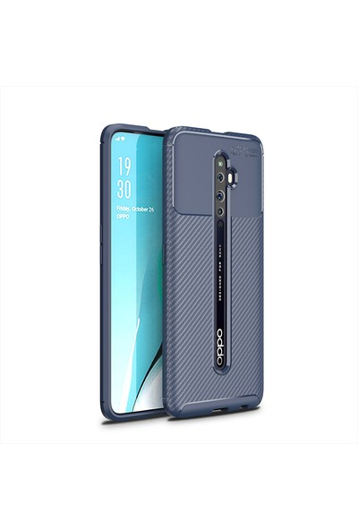 KNY OPPO Reno 2Z Kılıf Karbon Desenli Lux Negro Silikon + Cam Ekran Koruyucu Lacivert