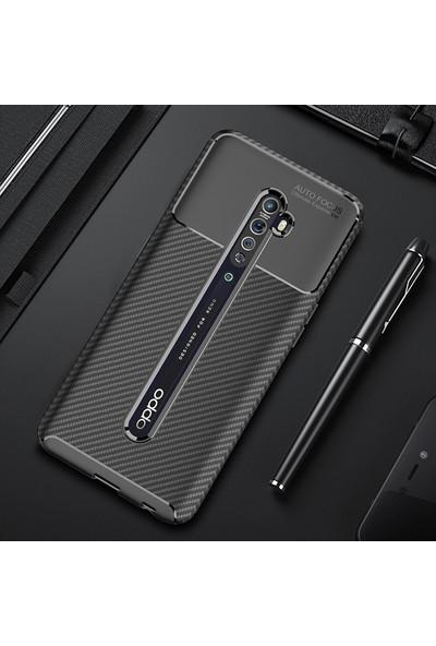 KNY OPPO Reno 2Z Kılıf Karbon Desenli Lux Negro Silikon + Nano Cam Ekran Koruyucu Siyah