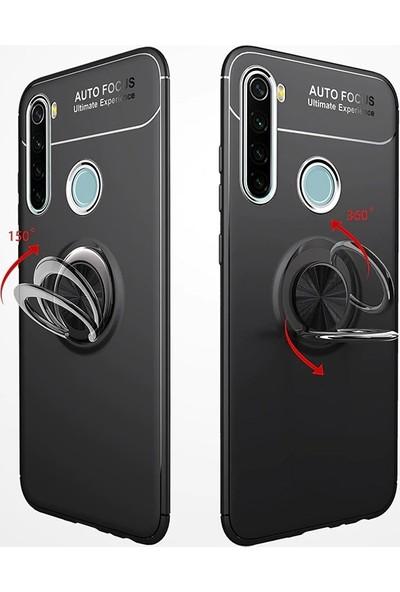 KNY Xiaomi Redmi Note 8T Kılıf Ultra Korumalı Yüzüklü Manyetik Ravel Silikon + Nano Cam Ekran Koruyucu Rose Gold
