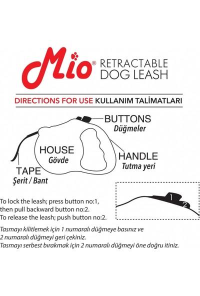 Mio Otomatik Köpek Gezdirme Tasması 5 Metre / 50 Kg L Siyah