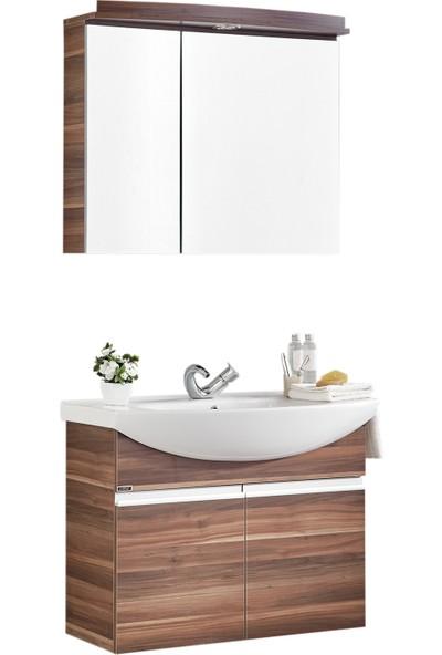Gold Ban-Yom Asia 80 cm Anadolu Ceviz Banyo Dolabı + Seramik Lavabo