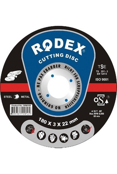 Rodex Metal Kesici Taş 180 x 3 x 22 mm 10'lu