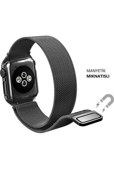 Schulzz Apple Watch Seri 3/4/5 Premium Metal Milano Kordon 38-40 mm - Siyah