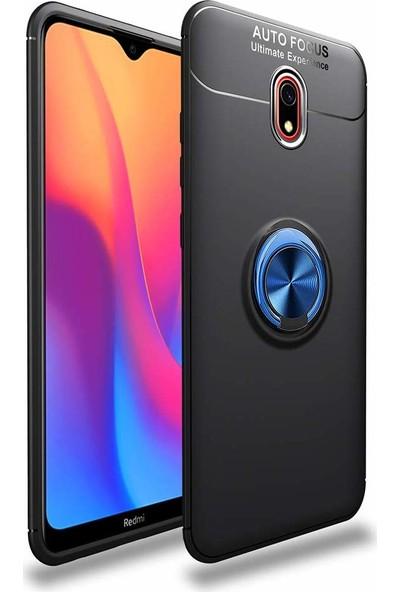 Case 4U Xiaomi Redmi 8A Kılıf Yüzüklü Darbeye Dayanıklı Arka Kapak Ravel Siyah Mavi