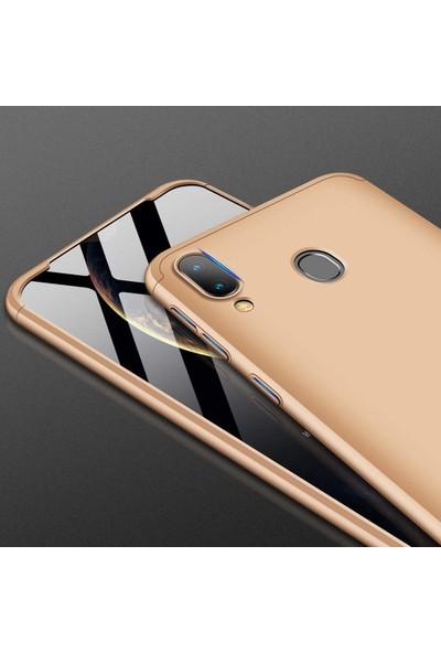 Case 4U Samsung Galaxy A10s Kılıf 360 Derece Korumalı Tam Kapatan Koruyucu Sert Silikon Ays Arka Kapak Siyah Kırmızı