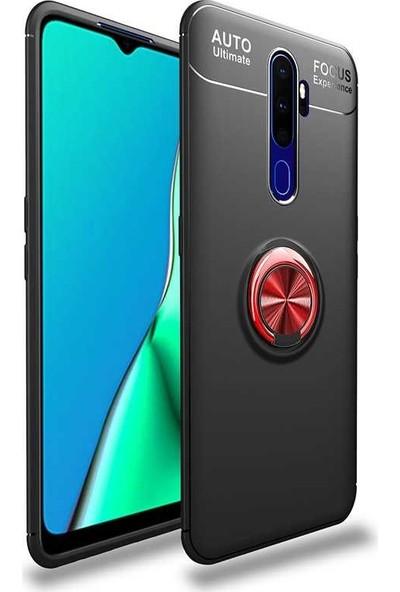 Case 4U Oppo A5-A9 2020 Kılıf Yüzüklü Darbeye Dayanıklı Arka Kapak Ravel Siyah Kırmızı