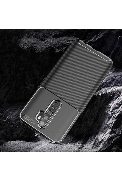 Case 4U Oppo A5-A9 2020 Kılıf Karbon Desenli Sert Silikon Arka Kapak Negro Lacivert