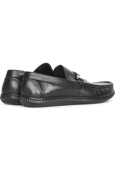 İlvi Arvin Erkek Makosen Ayakkabı Siyah Deri