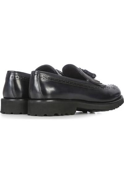 İlvi Klasi Erkek Makosen Ayakkabı Lacivert Deri