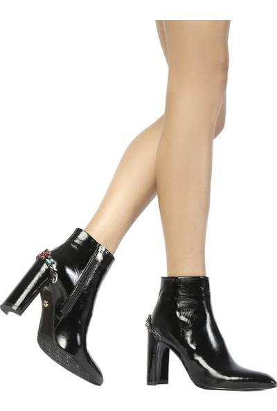 İlvi Antuna Kadın Topuklu Bot Siyah Rugan