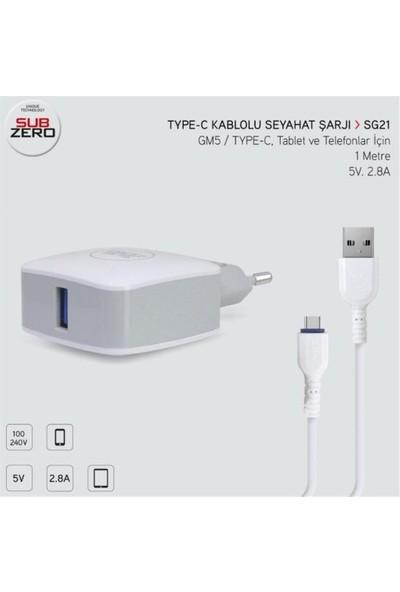 Subzero Gm5 Type-C 2.8A Hızlı Şarj Aleti SG21/SG42 - Beyaz