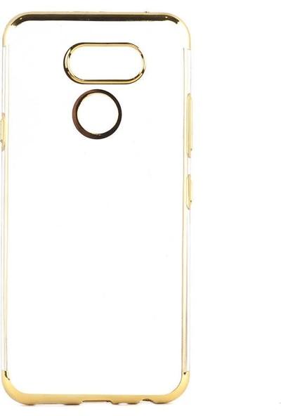 Teleplus LG K50S Kılıf Lüks Lazer Silikon + Nano Ekran Koruyucu Gold