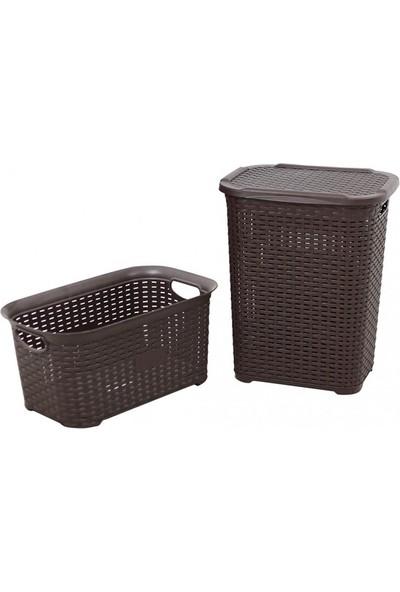 Sağlam Plastik Rattan Hasır Görünümlü Kirli Çamaşır Sepeti- Çamaşır sepeti 2'li Set
