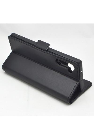 Weoze Samsung Galaxy Note 10 Plus Kılıf Weoze Hakiki Deri Cüzdan 2in1 Mıknatıslı Kapak Siyah