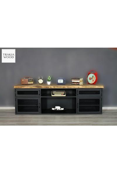 Trakia Wood TRK-013 Masif Ahşap Metal Endüstriyel Tasarım Tv Ünitesi