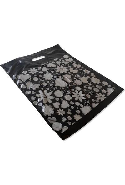 Takviyeli Poşet Gümüş Kalpli Siyah 40X50 (KOLI:1000 Adet)