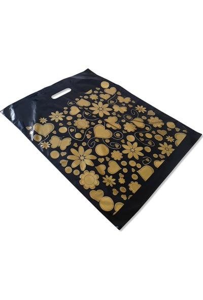 Takviyeli Poşet Altın Kalpli Siyah 40X50 (Paket:50 Adet)
