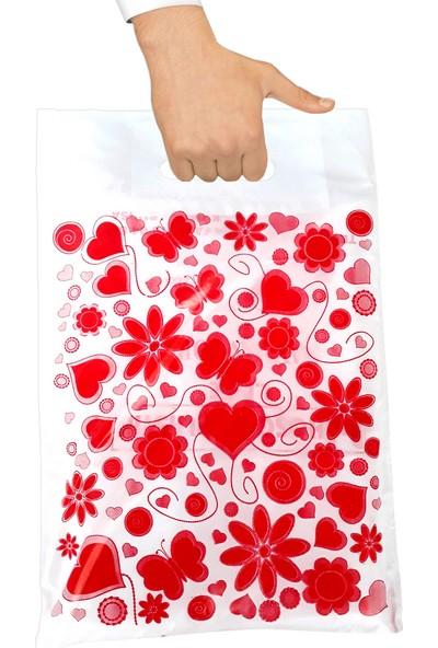 Hoşgör Plastik Takviyeli Poşet Kalpli Beyaz 40X50 (Paket:50 )