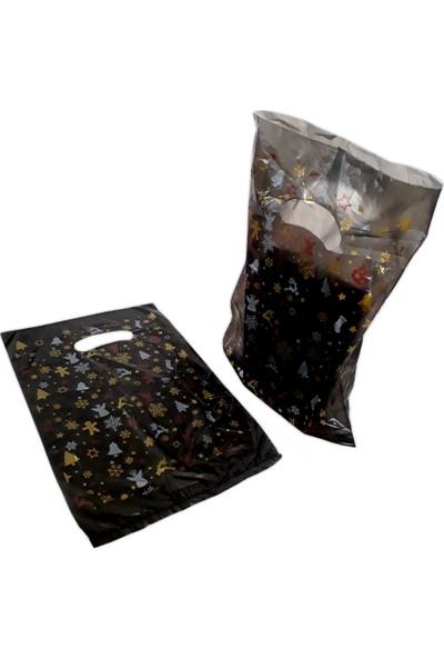 Hoşgör Plastik El Geçme Blok Poşet Eczane Poşeti Yılbaşı Siyah 20X30 (5'li PAKET:500 )