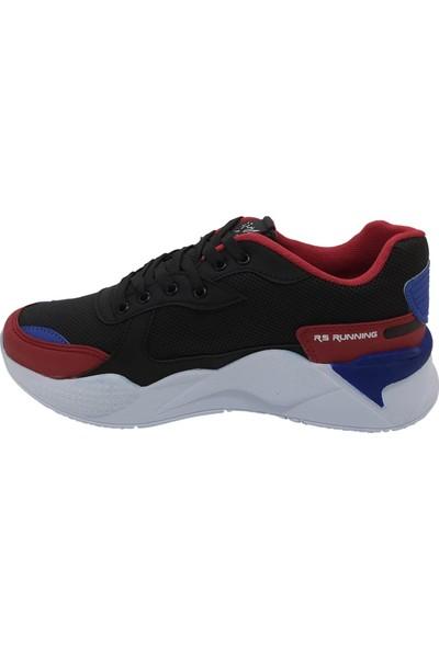 Pabucchi Erkek Siyah Mavi Kırmızı Spor Ayakkabı