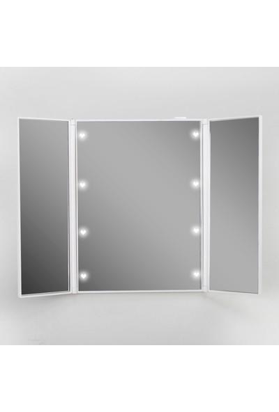 Land Of Myth - 8 LED Işıklı Seyahat Makyaj Aynası, Çanta Tipi, Katlanabilir, Ince, Hafif (Beyaz)