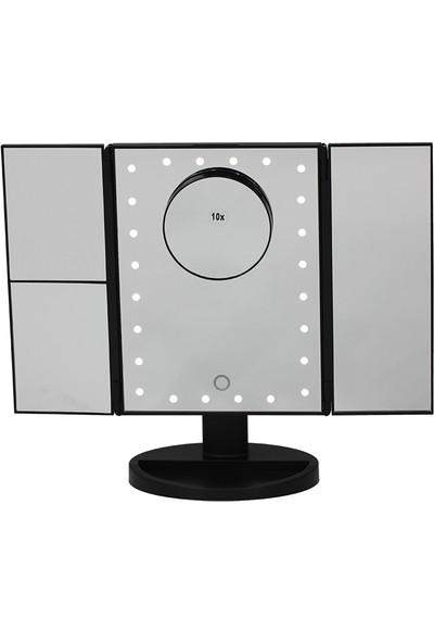 Land Of Myth - 1X-2X-3X-10X Büyütmeli 24 LED Işıklı Makyaj Aynası, 3 Panel, Katlanabilir, Dokunmatik Sensörlü (Siyah)