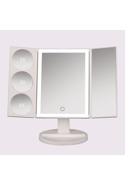 Land Of Myth - 1x-2x-3x-5x Büyütmeli 37 LED Işıklı Makyaj Aynası, 3 Panel, Katlanabilir, Dokunmatik Sensörlü (Beyaz Renk)