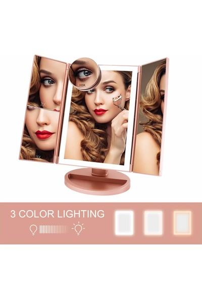 Land Of Myth - 1X-2X-3X-10X Büyütmeli 37 LED Işıklı Makyaj Aynası, 3 Panel, Katlanabilir, Dokunmatik Sensörlü