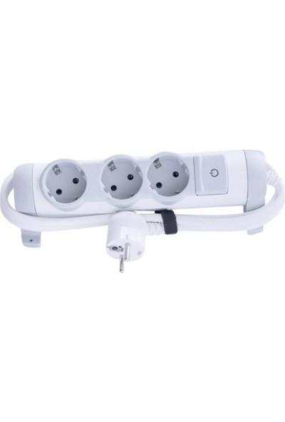 Legrand Comfort Serisi 3'lü Çocuk Korumalı Kablolu Anahtarlı Grup Priz 1,5 m