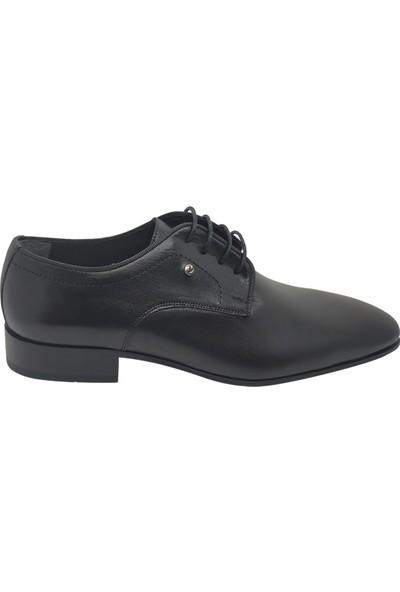Serdar Yeşil Erkek Bağcıklı Siyah Deri Klasik Ayakkabı