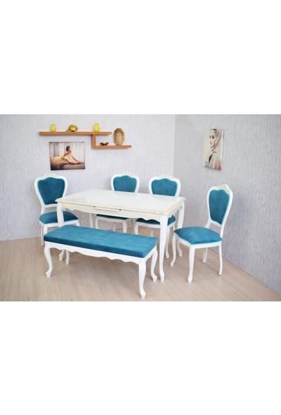 Corner Life Oymalı Klasik Sandalyeli Mutfak Takımı