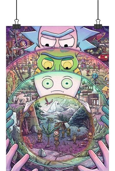 Rick And Morty Yabancı Animasyon Dizi Akü Bölümünü Afişi Portallı 48 x 33 cm Posteri