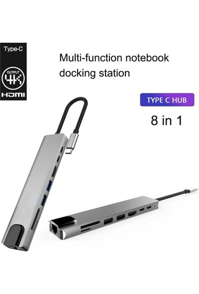 Mobitell 8in1 Type-C USB 3.0 Hub HDMI Ethernet Mikro SDTF OTG Adaptörü
