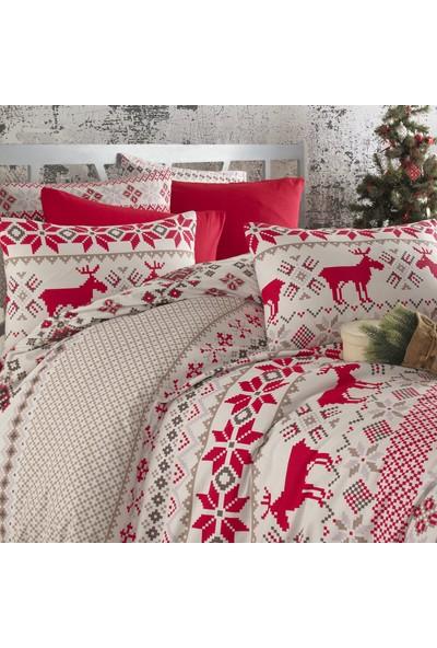 Cotton Touch Ranforce Deer Kırmızı Çift Kişilik Nevresim Takımı