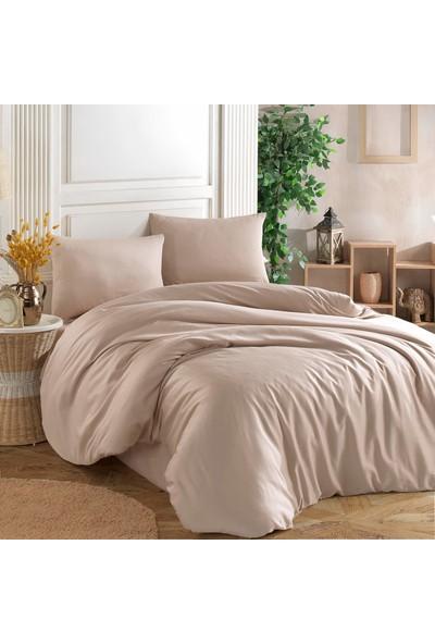 Cotton Touch Soft Açık Bej %100 Cotton Poplin Çift Kişilik Nevresim Takımı