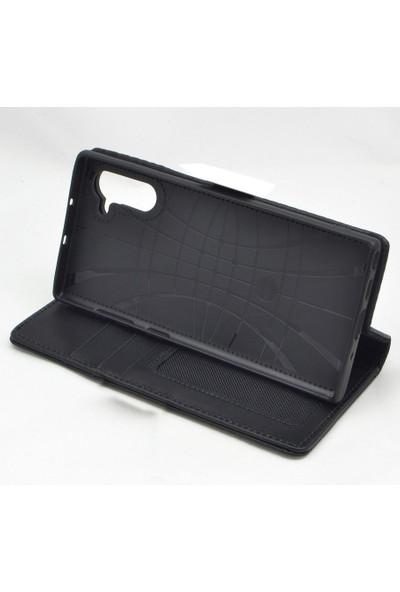 Weoze Samsung Galaxy Note 10 Deri Cüzdan Kılıf Siyah