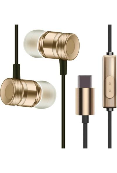 Ally USB Type-C Çıkışlı Piston Kulaklık Mi6 Htc U11 Kulaklık AL-25440 Gold