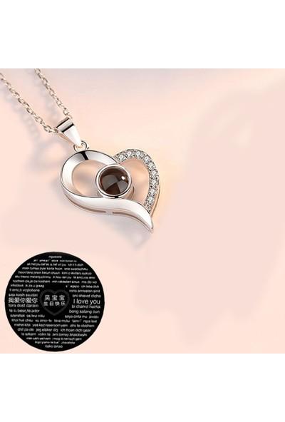 Chavin 100 Dilde Seni Seviyorum Projeksiyon Kalp Kolye Beyaz