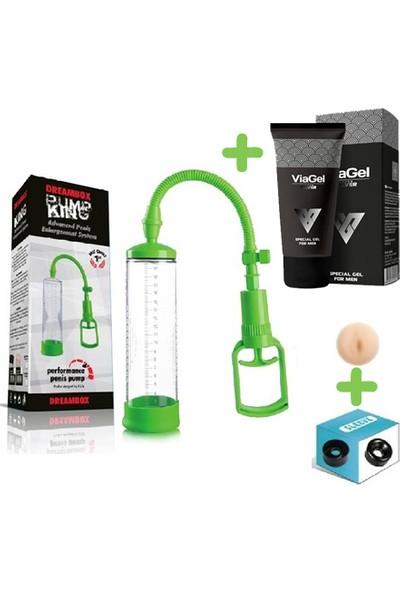 Xise Yeşil Renkli Penis Vakum Pompası + Yedek Başlık + 50 ml Krem