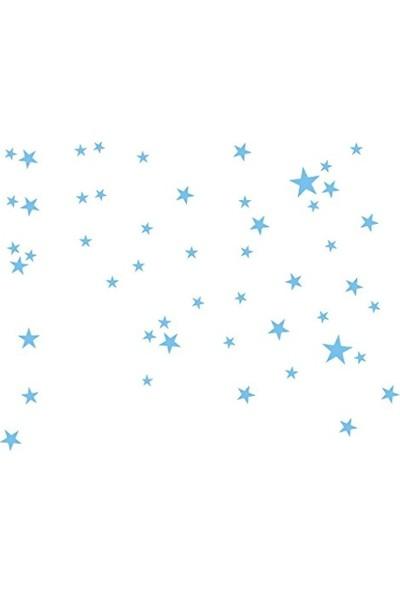 Hepsi Tedarik Bugybagy Dekoratif Çocuk Odası Bebek Mavisi Yıldız Yağmuru Sticker 100 Adet 3-4-5cm Karışık Çocuk Odası Duvar Süsleri