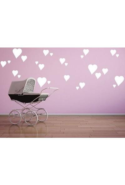 Hepsi Tedarik Bugybagy Dekoratif Çocuk Odası Beyaz Kalp Yağmuru Sticker 97 Adet Karışık Çocuk Odası Duvar Süsleri
