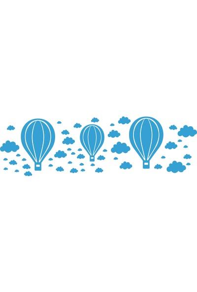 Hepsi Tedarik Mavi Bulutlar ve Balonlar Sticker Seti Bulut ve Balon Duvar Stickerları 53 Adet Çocuk Odası Dekorasyon Stickerı